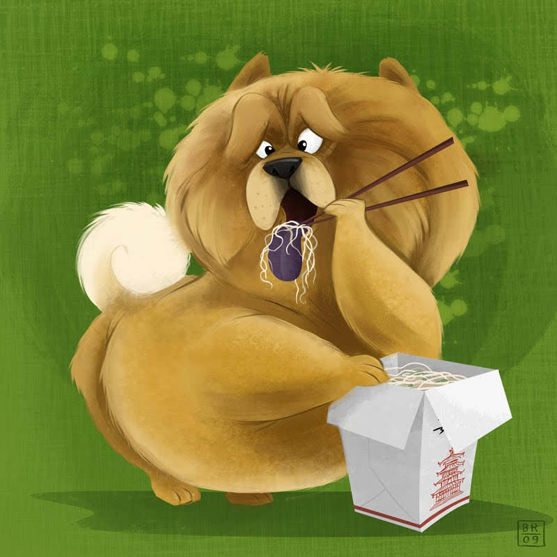 A CHOW-chow CHOWing down on CHOW mein.